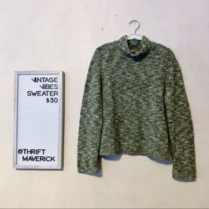 Marbled Green Cowl Neck Sweater   Vintage